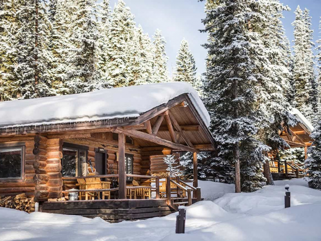 The Larkspur cabin covered in a blanket of snow.