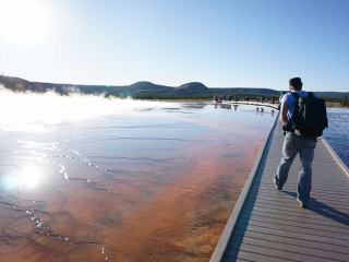 A man walks along the boardwalk of the Grand Prismatic Spring in YNP