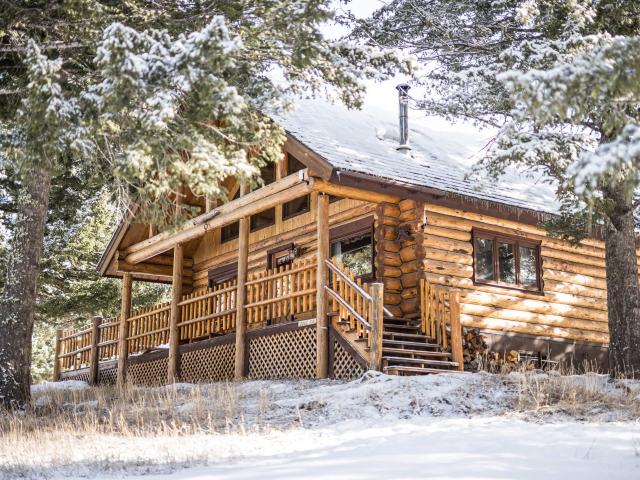 Doug Fir Log Home in the winter